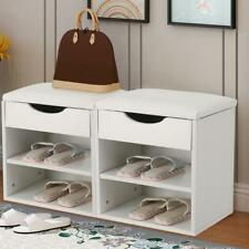 Shoe Rack Hallway Bench Shoe Tidy Storage Organiser-with Folding Padded Seat