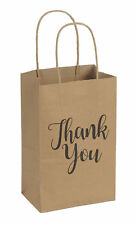 "Paper Shopping Bags 100 Small Kraft Thank You 5"" X 3 ½"" X 8"" Gusset Retail"