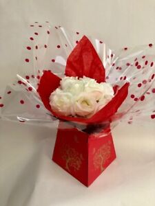 Beautiful artificial flowers rose in gift bouquet box birthday thank you present