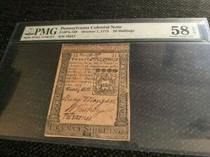 Pennsylvania Colonial Note Fr# PA-169 October 1, 1773, 20 Shillings, PMG