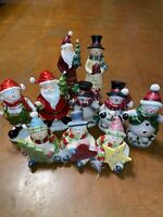 Valerie Parr Hill 10 Piece Whimsical Santa And Snowman Christmas Decor Figurines