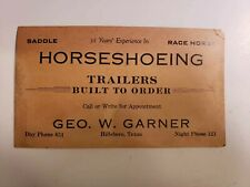 Vintage business card horse shoeing trailers built to order hillsboro Texas usa