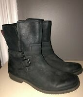 UGG*BOMBER BLACK SIMMENS SHEARLING WATERPROOF LEATHER ZIP MID-CALF MOTO BOOT*9