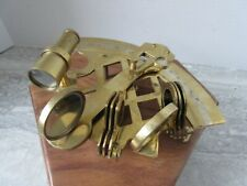 Contemporary Reproduction Brass Sextant in Hardwood Box Nautical Instrument