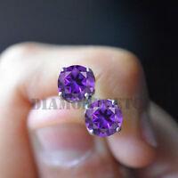 1.5CT Amethyst Diamond 14K Gold Finish Stud Earring Screw Back Wedding Gift