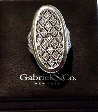Gabriel & Co. Sterling Silver and Diamond Large Oval Ring Size 7