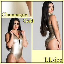 REALISE N-996HL Front zip Metallic swim suit  Champagne Gold LL size