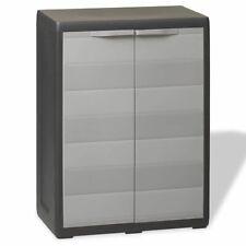 Medium Size Plastic Garden Storage Cupboard W Lockable Doors Outdoor Black Grey
