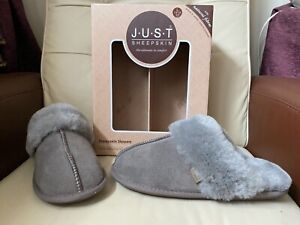 Just Sheepskin Grey Suede Genuine sheepskin lining and inner, Size L ,UK size 7