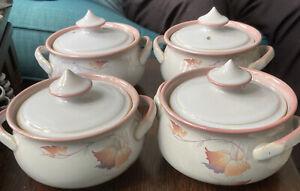 4 Lovely Vintage Denby Twilight Lidded Soup Bowls Mint