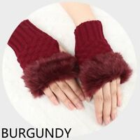 Women Faux Fur Knitted Furry Fluffy Fingerless Gloves Mittens Winter Warmer Red