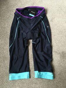 Muddy Fox Ladies Navy Blue Purple Padded Cycling Capri pants trousers Sze16 BNWT