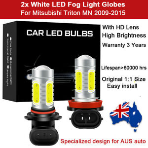 For Mitsubishi Triton MN 2009-2015 2x Fog Light Globes Spot 6000K White LED Bulb