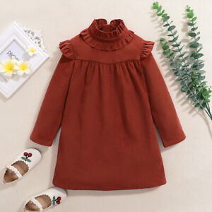 Sweet Vintage Ruffled Long-sleeve BROWN Solid DRESS for Baby / Toddler - MELB AU
