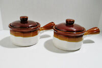 2 Bean Pots Brown Glazed Stoneware Covered Soup Bowls with Lids & Handles