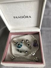 GENUINE PANDORA BRACELET WITH 7 CHARMS, SAFETY CHAIN & BOX - IDEAL PRESENT