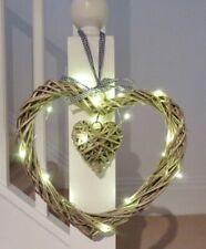 Xmas Heart 20 LED Lights Vintage Willow Wreath 30 Cm Diameter Batteries