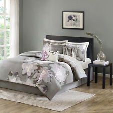 BEAUTIFUL CHIC GREY WHITE PURPLE ABSTRACT WATERCOLOR FLOWER 7 PC COMFORTER SET