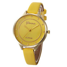 Ladies Fashion Geneva Platinum Quartz Gold Case Yellow Slim Band Wrist Watch.