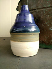 Rare Old Blue, Gray/Green and White Striped Stoneware Poultry Waterer with stamp
