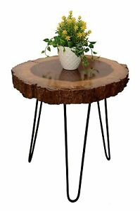 ANTIQUE NATURAL ROUND WOODEN & WROUGHT IRON COFFEE TABLE / SIDE TABLE FURNITURE