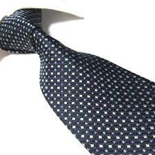 Extra Long 100% Silk Tie Black/Purple/White Design XL Men's Necktie Woven SW4542