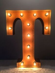 """New Rustic Metal Letter T Light Marquee: Sign Wall Decoration 24"""" Vintage"""