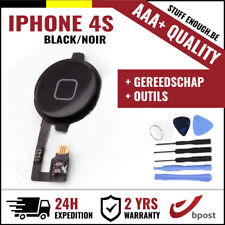 AAA+ Home Button Bouton Assembly & Flex Cable Black + Tools For iPhone 4S