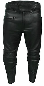 Mens Black Armoured Real Cowhide Leather Motorcycle Motorbike Trousers Jeans