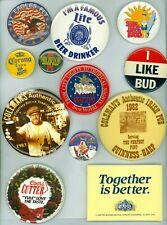 12 '70s-90s Beer Company Brewery Advertising Pinback Buttons Coors Bud Guinness