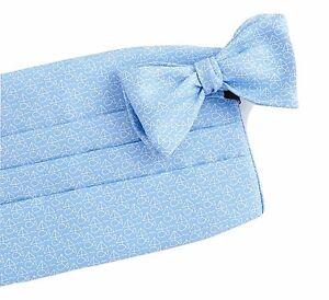 Vineyard Vines Mens Sail Fish Light Blue Silk Bow Tie Cummerbund Set $110