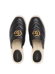 NIB Gucci Marmont Black Leather Double GG Espadrille Mules Size 39EU/9US $650.00