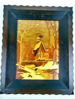 VINTAGE HOME IN WOODS MARQUETRY WOOD INLAY LACQUERED PLAQUE WALL HANGING FRAMED