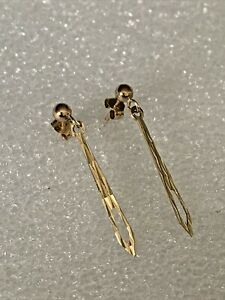 Vintage Solid 9ct Gold Decorated Shaped Pair 2.7cm Drop Dangle Ladies Earring's