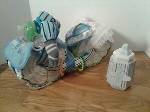 Motorcycle Diaper Cake Centerpiece Baby Shower Gift Blue Baseball Boy