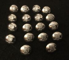 18 X Vintage 16mm Humberside FIre Brigade Silver / Chrome Uniform Buttons