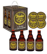 Bierwürfel Danke Bier 4X0,33l mit 4 Sammler Bierdeckel