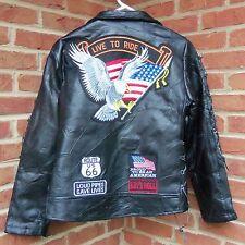 Womens Ladies Black Leather Motorcycle Biker Jacket Diamond Plate Buffalo
