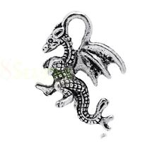 10 Pcs -  Tibetan Silver Winged Dragon Charm 21mm Jewellery Craft Pendant Q154