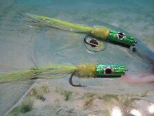 2 V Fly size 2 Chartreuse Bass Slider Surface Disturbance Saltwater Flies