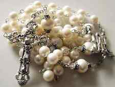 White AAA Real Pearl GIFT Rosary Cross Necklace Box STERLING SILVER FATHER BEADS