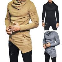 Fashion Men Slim Fit T Shirt Casual Irregular Long Sleeve Muscle Tee   Blouse ZP