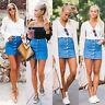 Women Button Denim Dress High Waist Slim Pencil Street Short Hot Mini Skirt