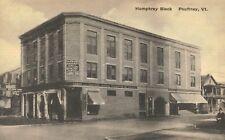 Poutney,Vermont,Humphrey Block,Pool Hall,Bowling,Drug Store,Albertype,c.1930-s