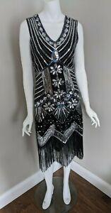 Vintage 1920s Style Beaded Sequin Flapper Evening Dress w/ Fringe - M
