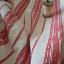 Antique Primitive Americana Red White Stripe Farmhouse Cabin Ticking Fabric ~