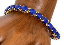 Rare VTG RH & Company Natural Lapis Lazuli Bracelet in 14k Solid Yellow Gold