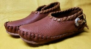 Buffalo Men's size 11 Moccasins Tobacco Brown indian Leather Cherokee Style