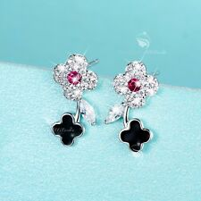 925 silver earrings simulated diamond cute clover flower stud rose red