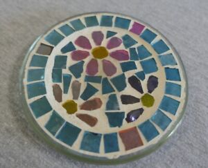 """Blue & Pink Flowers Mosaic Glass Footed Candle Holder Trivet Base Plate 4.75"""""""